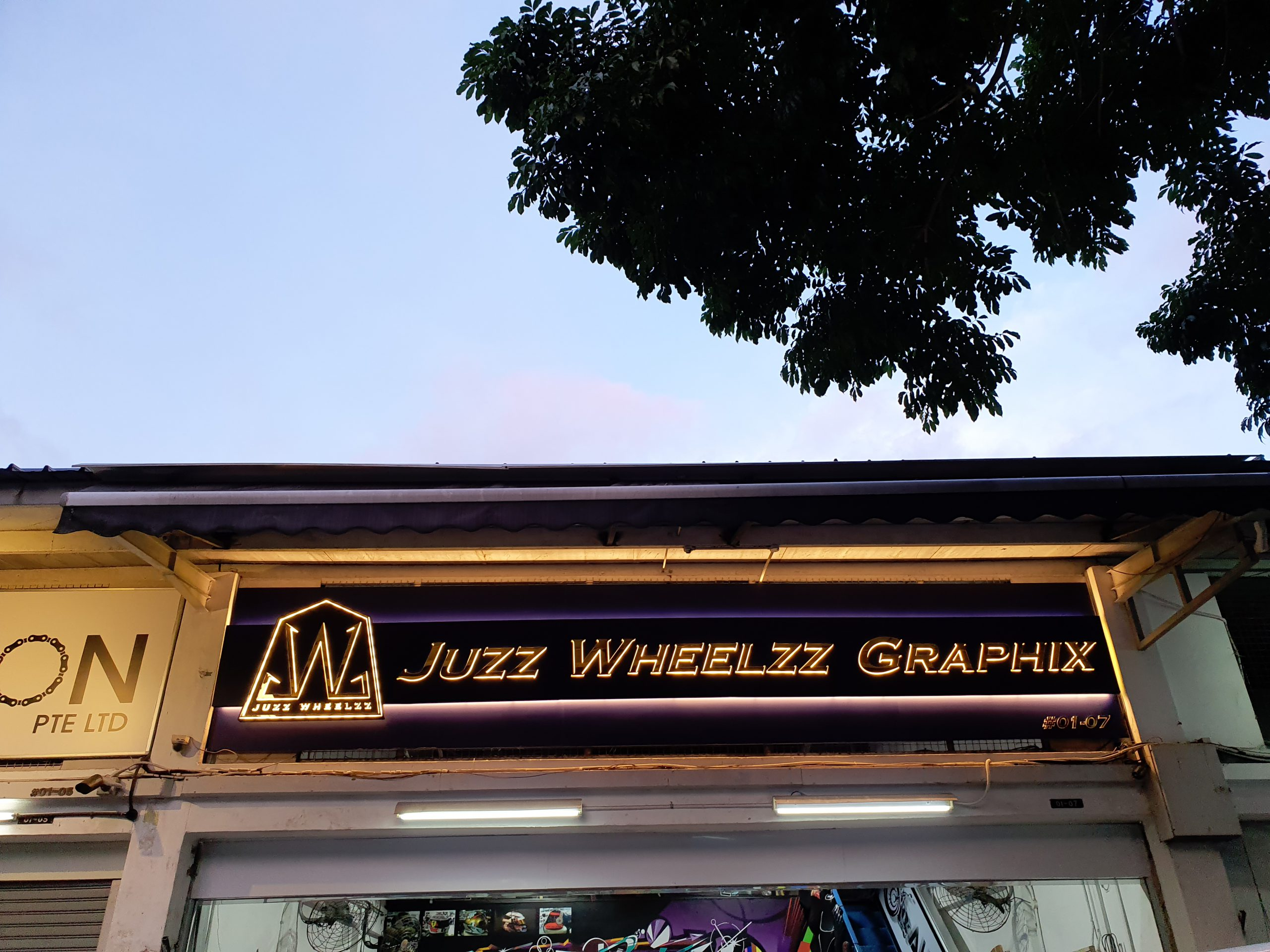 Juzz Wheelzz Graphix Revamped Logo Signboard