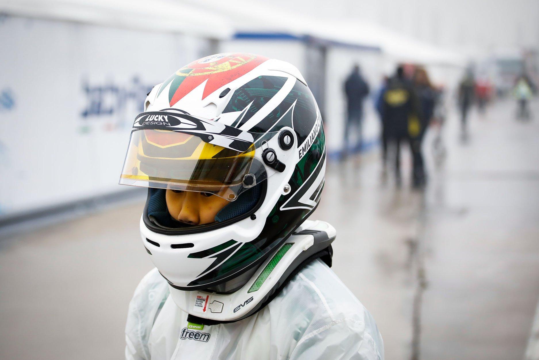 Emiliano Cyrus Kart Racer wearing Juzz Wheelzz Custom Design Arai Helmet