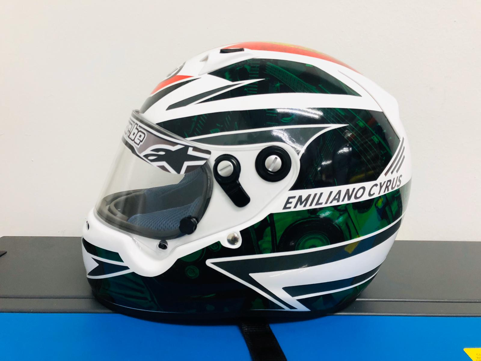 Arai Helmet Custom Decals With Emiliano Cyrus Name on it