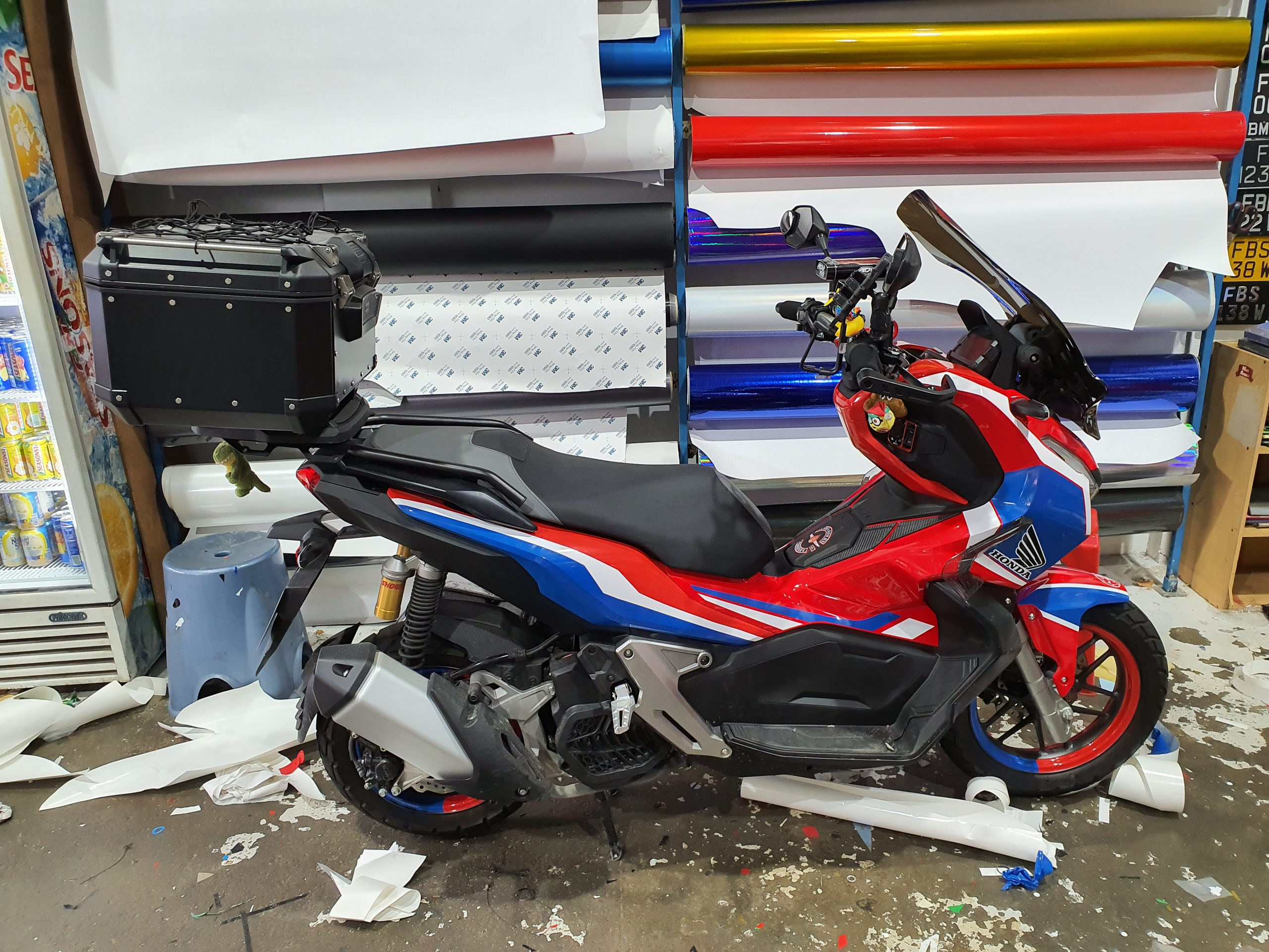 Honda ADV 150 Vinyl Sticker in Red, blue and white