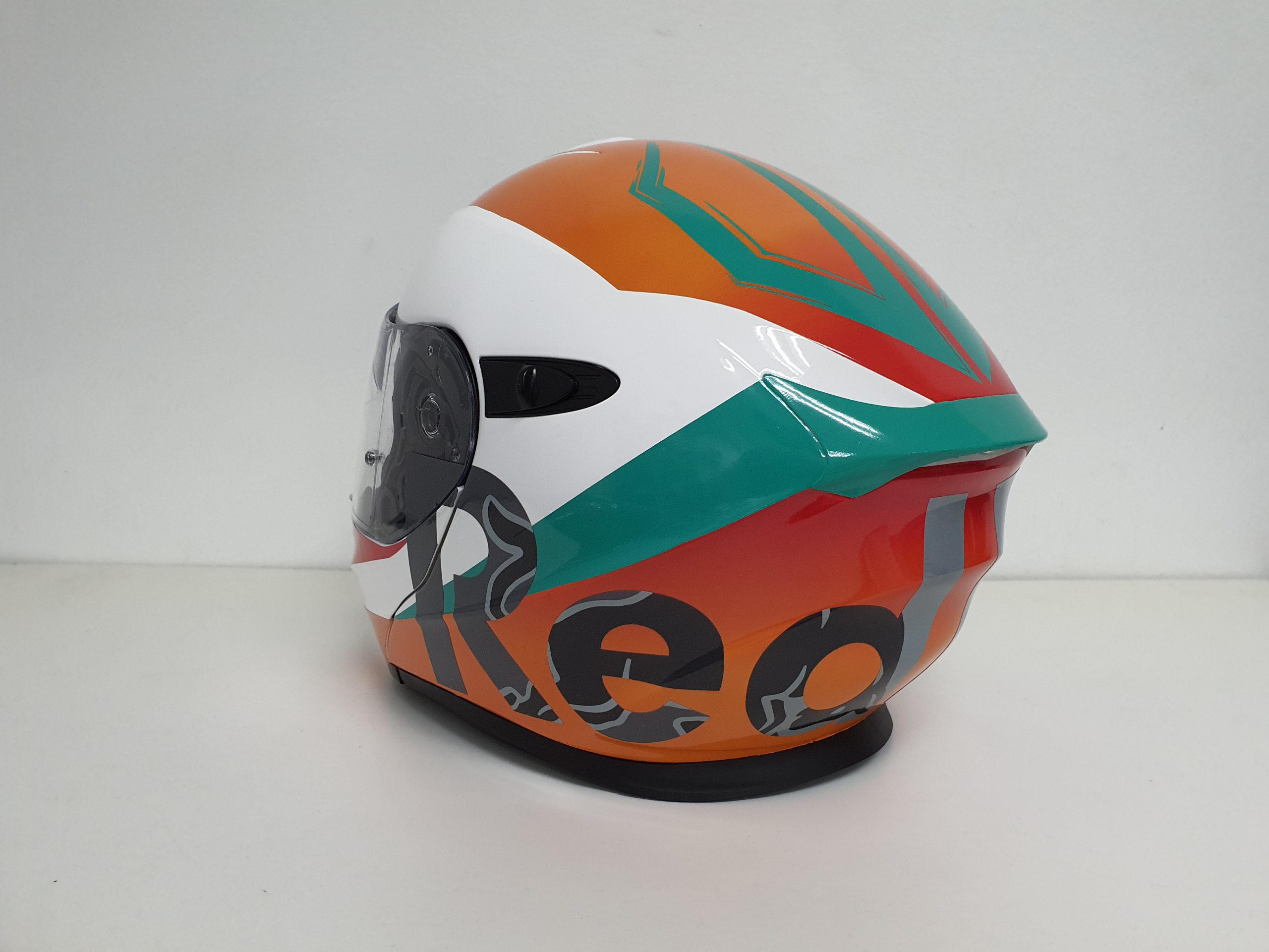Left Back Profile of the KTM Helmet with subtle graphics on the letters