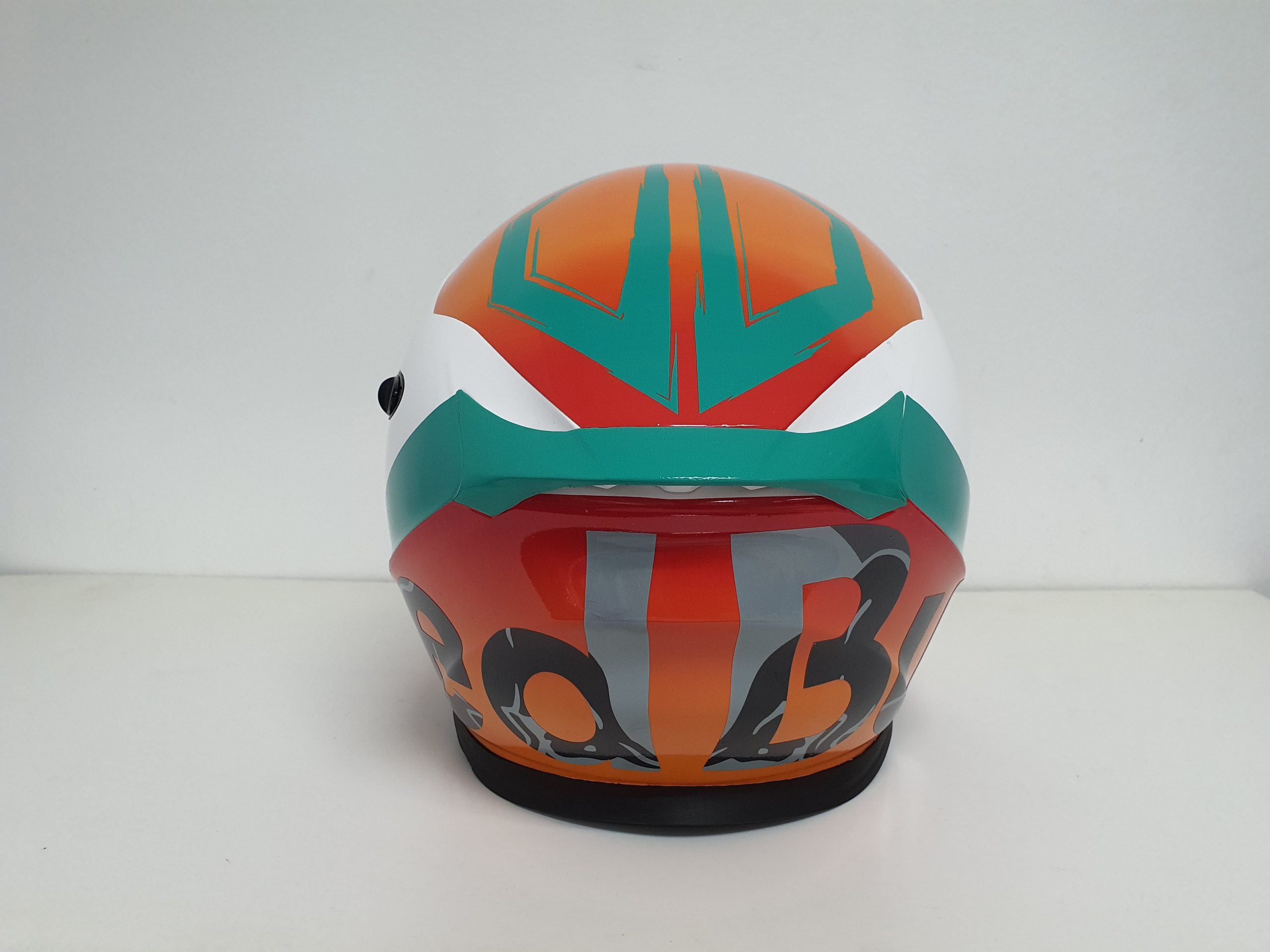 Full Back Profile of Scorpion Helmet Redbull KTM with different shades of gray for the text
